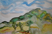 Yello Paintings - Hills and Trees by Beverley Harper Tinsley