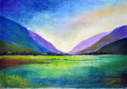 Dusk Pastels Prints - Hills and Vale Print by Shreekant Plappally