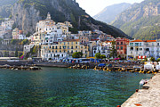 Southern Italy Framed Prints - Hills of Amalfi Framed Print by George Oze