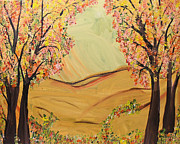 Tree Blossoms Paintings - Hills Of Gold by Suzeee Creates