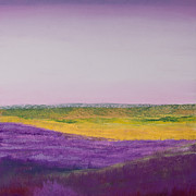 Yellow Pastels Originals - Hills of Lavender by David Patterson