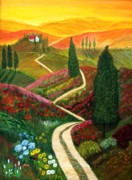 Tuscan Sunset Paintings - Hills of Tuscany by Anke Wheeler