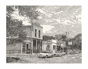Pen And Ink Framed Prints Prints - Hillsboro NM Post Office Print by Jack Pumphrey