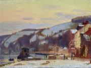 Winter Scenes Rural Scenes Prints - Hillside at Croisset under snow Print by Joseph Delattre