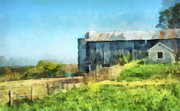 Old Barn Paintings - Hillside Barn by Anne Kitzman