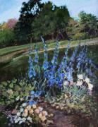 Natural World Paintings - Hillside Garden by Diane Ursin
