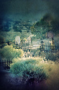 Haunted Hills Posters - Hillside Graveyard Poster by Jill Battaglia