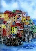 City Scape Painting Prints - Hillside Homes Print by Arline Wagner