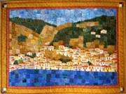 Buildings Tapestries - Textiles - Hillside Poros by Susan Hanson