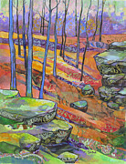 Contemporary Forest Paintings - Hillside Remembered by Marty Husted