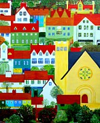Moignard Prints - Hillside Village Print by Barbara Moignard