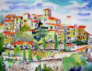 Hillside Village In Provence Print by Ginette Fine Art LLC Ginette Callaway