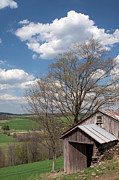 Tin Roof Posters - Hillside Weathered Barn Dramatic Spring Sky Poster by John Stephens