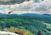 Watercolor Landscapes Posters - Hilly Landscape Poster by Winslow Homer