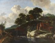 Water Flowing Painting Posters - Hilly Landscape with a Watermill Poster by Jacob Isaaksz Ruisdael