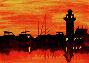 Lighthouse Art Paintings - Hilton Head Lighthouse by Michael Vigliotti
