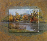 Park Mixed Media Prints - Himboldt Park Lagoon layered Print by Anita Burgermeister