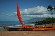 Tropical Photographs Originals - Hina Waapea sailing canoe Polo Beach Wailea Maui Hawaii by Sharon Mau