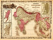 Maps Mixed Media Framed Prints - Hindostan Framed Print by Pg Reproductions