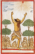 Indian Guru Framed Prints - Hindu Ascetic Adoring Sun, India, 1600s Framed Print by Photo Researchers