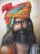 Bannister Painting Metal Prints - Hindu Holy Man Metal Print by Debra  Bannister