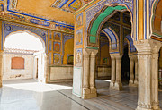 Supports Framed Prints - Hindu Palace Interior Framed Print by Inti St. Clair
