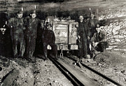 Headlamp Framed Prints - Hine: Coal Miners, 1911 Framed Print by Granger