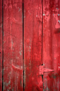 Red Barn Metal Prints - Hinge on a Red Barn Metal Print by Steve Gadomski