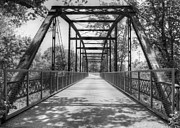 Cricket Hackmann Framed Prints - Hinkson Creek Bridge in Black and White Framed Print by Cricket Hackmann