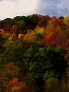 Fall Trees Posters - Hint of Fall Color Painting Poster by Teresa Mucha