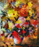 Blooms Mixed Media Acrylic Prints - Hint Of Klimt Acrylic Print by Zeana Romanovna