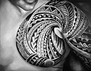 Samoan Paintings - Hio in black and White by Elizabeth York