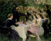 Dinner Painting Metal Prints - Hip Hip Hurrah Metal Print by Peder Severin Kroyer