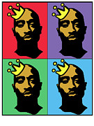 Hip Hop Icons Tupac Shakur Print by Stanley Slaughter Jr