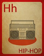 Boom Box Framed Prints - Hip Hop Vintage Flashcard Framed Print by Mynameisjz JZ