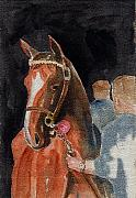 Thoroughbred Mixed Media - Hip No. 61 Chestnut Colt by Arline Wagner