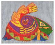 Native-american Tapestries - Textiles Prints - Hippie Bird Embroidery Print by William Krupinski