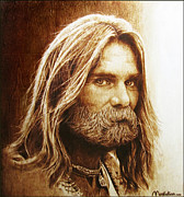 On Paper Pyrography Originals - Hippie Christ 95 by Dino Muradian