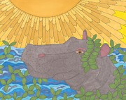 Hippopotamus Drawings - Hippo Happiness by Pamela Schiermeyer