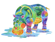 Vivid Colors Painting Posters - Hippo Heaven Poster by Jo Lynch