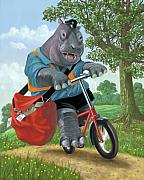 Hippopotamus Metal Prints - Hippo Post Man On Cycle Metal Print by Martin Davey