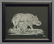 Sandblast Glass Art Prints - Hippos Mother and Baby Print by Akoko Okeyo