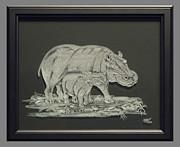 Hippos Mother And Baby Print by Akoko Okeyo