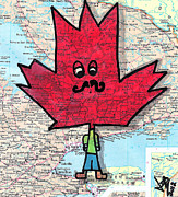 Red Leaf Drawings - Hipster Maple Leaf by Jera Sky