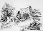 Bricks Drawings - Hirbe landscape in Afek black and white old building ruins trees bricks and stairs by Rachel Hershkovitz