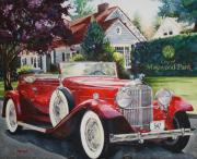 Hedge Paintings - His and Hers Packard 1932 by Mike Hill