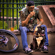Homeless Man Prints - His Best Friend Print by David Patterson