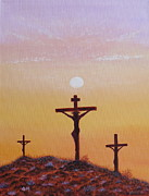 Crucifix Paintings - His Death Was Only The Beginning by Aimee Mouw