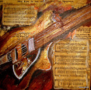 Music Score Paintings - His Eye Is On The Sparrow by Lyn Deutsch