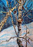 Birch Trees Originals - His Eye is on the Sparrow by Mindy Newman